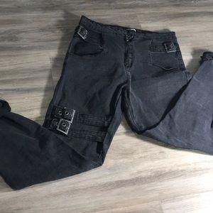 Fashion Nova black belted denim jeans